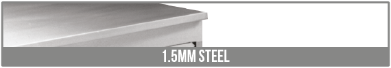 1.5mm Steel Worktop Comes As Standard.