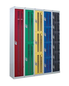 Perforated Door Lockers - 3 Compartment - UK Locker Manufacturer